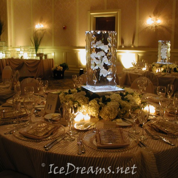 Table centerpiece ice sculptures dreams